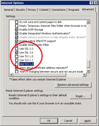 Configure IE to only use SSL v3