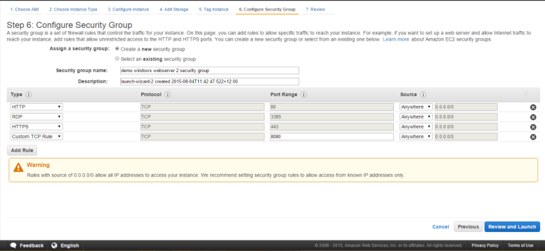 Configure Security Group of AWS EC2 Instance